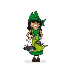 Profession farmer woman cartoon figure vector image vector image