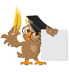 Wise owl holding a golden pen and a sheet of paper vector image vector image