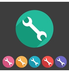 Wrench badge flat icon sign set symbol vector image vector image