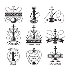 and labels set of different hookahs vector image