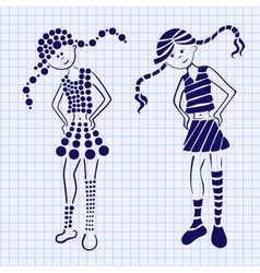 Drawn ink girl on the notebook sheet vector image vector image