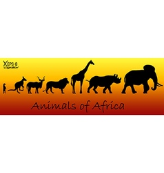 Silhouettes of animals of africa vector