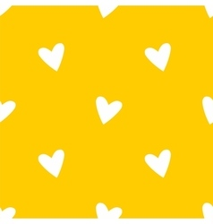 Tile pattern white hearts on yellow background vector image vector image