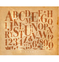 vintage gothic alphabet craft vector image