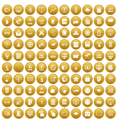 100 e-learning icons set gold vector