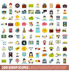 100 shop icons set flat style vector