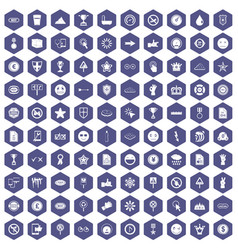 100 symbol icons hexagon purple vector