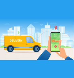 24-7 delivery concept for online orders vector