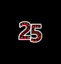 25 anniversary celebration bubble red number vector