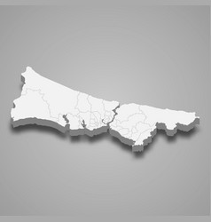 3d isometric map istanbul is a province of vector image
