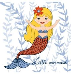 a beautiful little mermaid vector image
