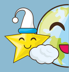 adorable earth and star with sleep hat vector image