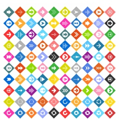 Arrow sign icon set on rhomb shapes vector