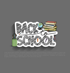 Back to school design sticker with colorful vector