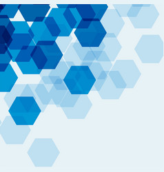Background template with blue hexagons vector