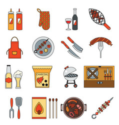 bbq grill barbecue cooking meat steak picnic vector image