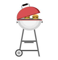 Bbq grill with wheels vector