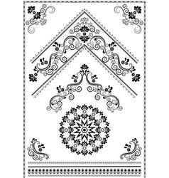 black ornaments and corner on white background vector image