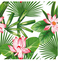 botanical seamless pattern pink lotus green vector image