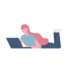 business woman lying with laptop flat style modern vector image