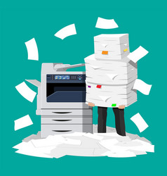 businessman in pile of office papers and printer vector image