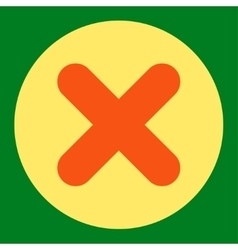 Cancel flat orange and yellow colors round button vector