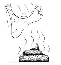 Cartoon and drawing bare foot stepping vector
