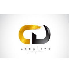 Cd letter design with brush stroke and modern 3d vector