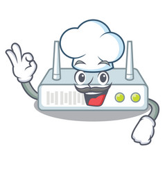 Chef router is installed in cartoon wall vector
