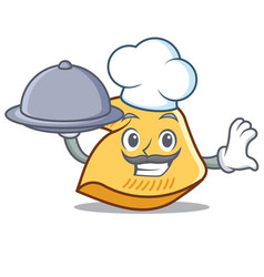 Chef with food fortune cookie mascot cartoon vector
