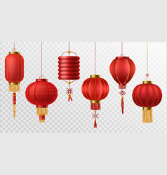 Chinese lanterns japanese asian new year red vector