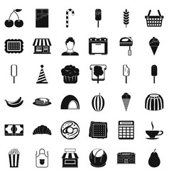chocolate icons set simple style vector image