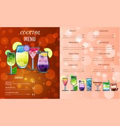 Cocktail menu design templatecocktail list cover vector