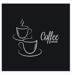 coffee cup logo on concept black background vector image