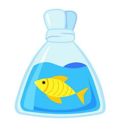 colorful cartoon fish in plastic bag vector image