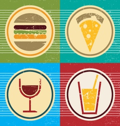 colorful grunge set of food and drink icons vector image