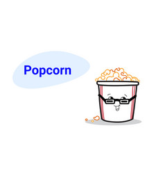 cute pop corn cartoon comic character in glasses vector image