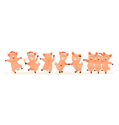 dancing pigs vector image