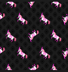 dark horse black and pink seamless pattern vector image