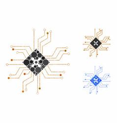digital roulette circuit mosaic icon spheric vector image
