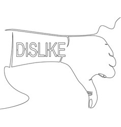 dislike continuous one line thumb down icon vector image