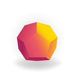dodecahedron - 3d geometric shape with holographic vector image