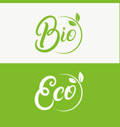 Eco and bio hand written lettering logo vector