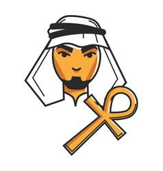 Egyptian bedouin in traditional clothes and gold vector