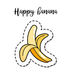 Fashion patch element banana vector