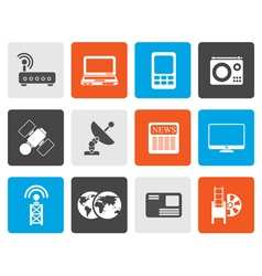 Flat business technology communications icons vector