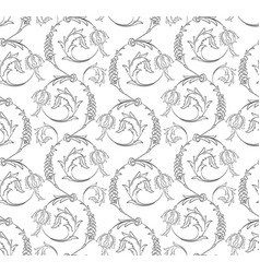 floral swirls seamless pattern vector image