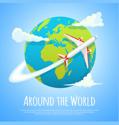 Flying around the world travel to world road vector