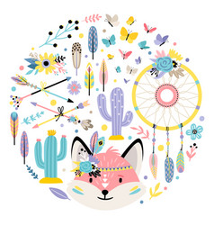 Fox and indian elements vector