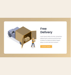 free delivery isometric landing page vector image